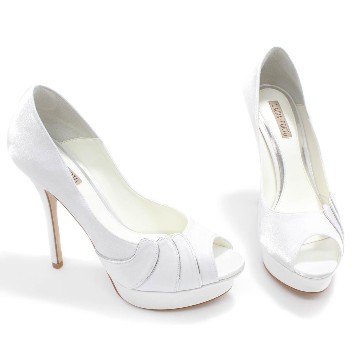 9a751fd040 Sapato De Noiva Laura Porto Peep Toe Mt 9498 Branco