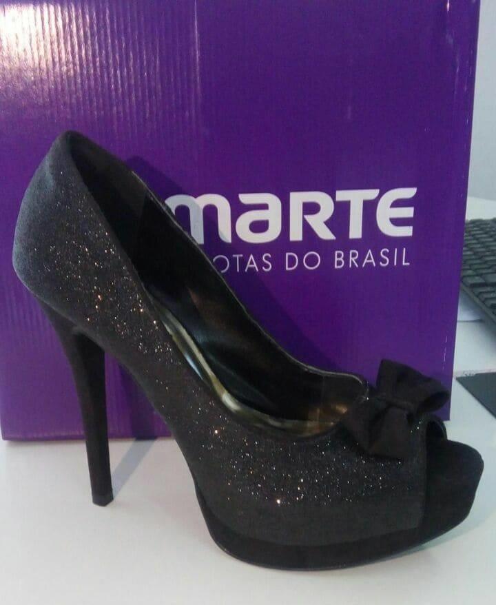 6421fbfcef Sapato Peep Toe Via Via Marte Glitter Preto 13-11901 Coleçã - R  79 ...