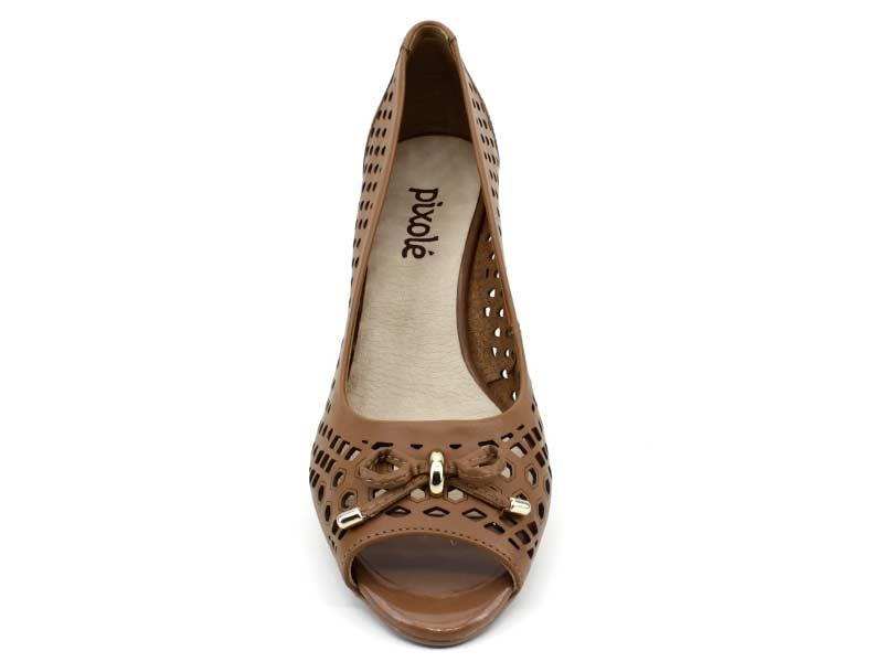 1d89aebd14 Sapato Peep Toe Bottero 278803 Couro Caramelo - R  179