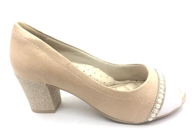 849dca211 Sapato Peep Toe Comfortflex Nude/branco Oferta - R$ 142,90 em ...