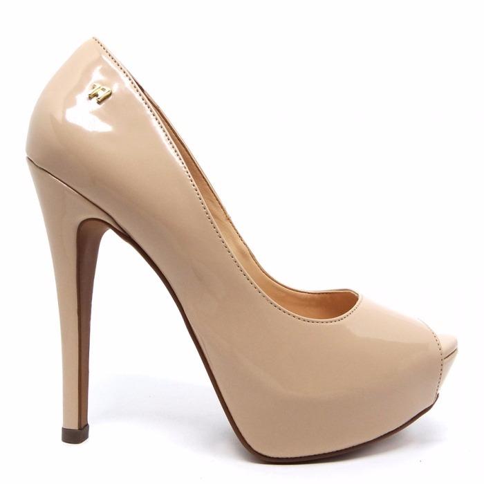 4f50813a1d Sapato Peep Toe Nude Bege Verniz Meia Pata Salto Alto Fino - R  169 ...