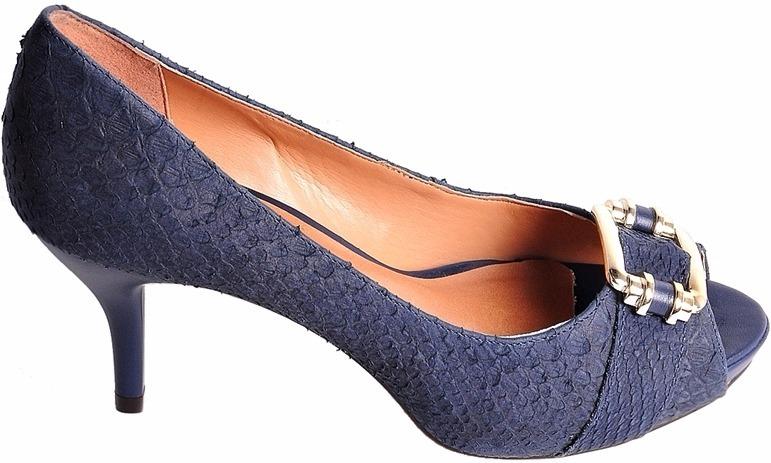 fccd22d17 Sapato Peep Toe Via Uno Meia Pata Azul Marinho Couro 37 38 - R$ 279 ...