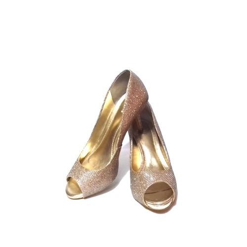1cd0e2f50 Sapato Pep Toe Salto Alto 8 Cm Dourado Fino Festa Feminino - R$ 149,00 em  Mercado Livre