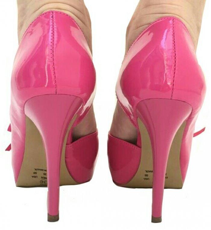 5afc9213a Sapato Pink Rosa Verniz Boneca Meia Pata Salto Alto Fino - R$ 157,08 ...