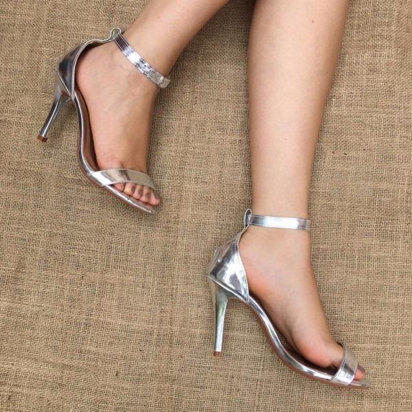 169db70f4 Sapato Prata Salto Alto 10cm - R$ 60,00 em Mercado Livre