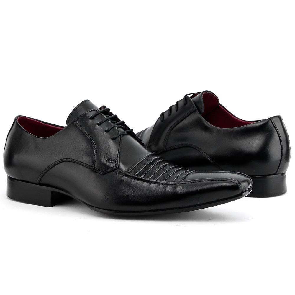 43037be7b sapato preto 100% couro cadarço masculino social italiano. Carregando zoom.