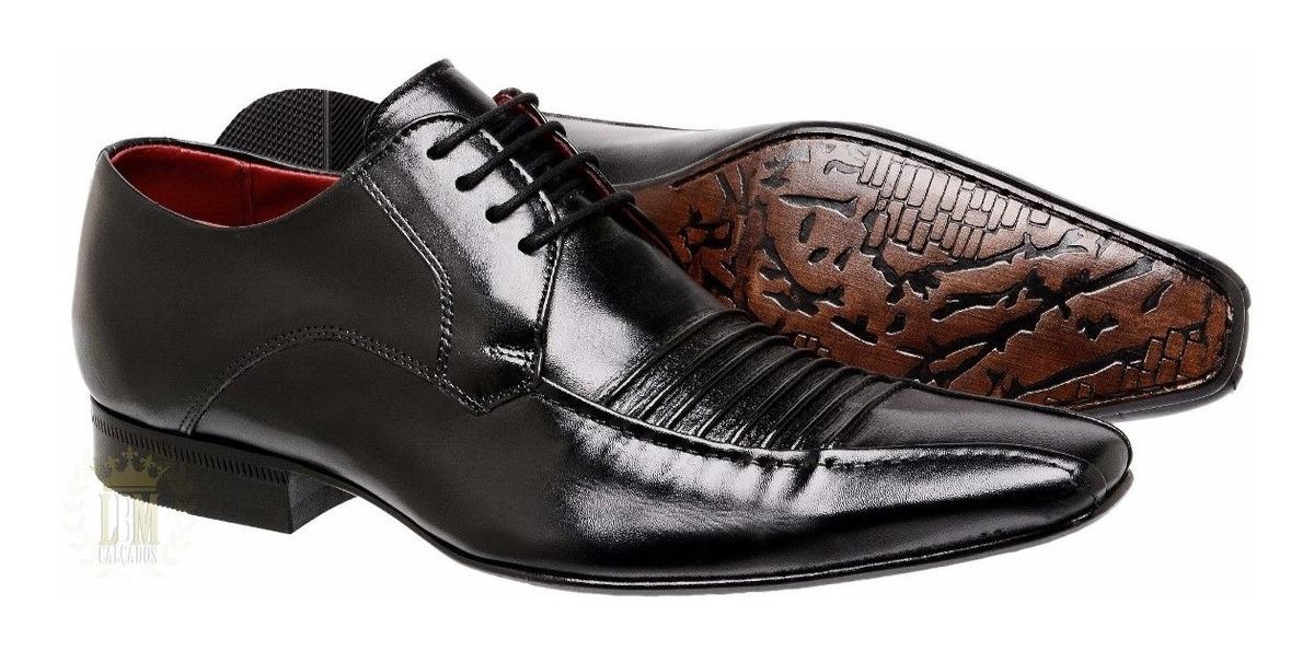 5d28d5581 sapato preto de couro e cadarço masculino social italiano. Carregando zoom.
