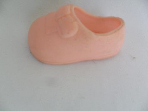 sapato rosa antigo sapatinho para bonecas pé esquerdo