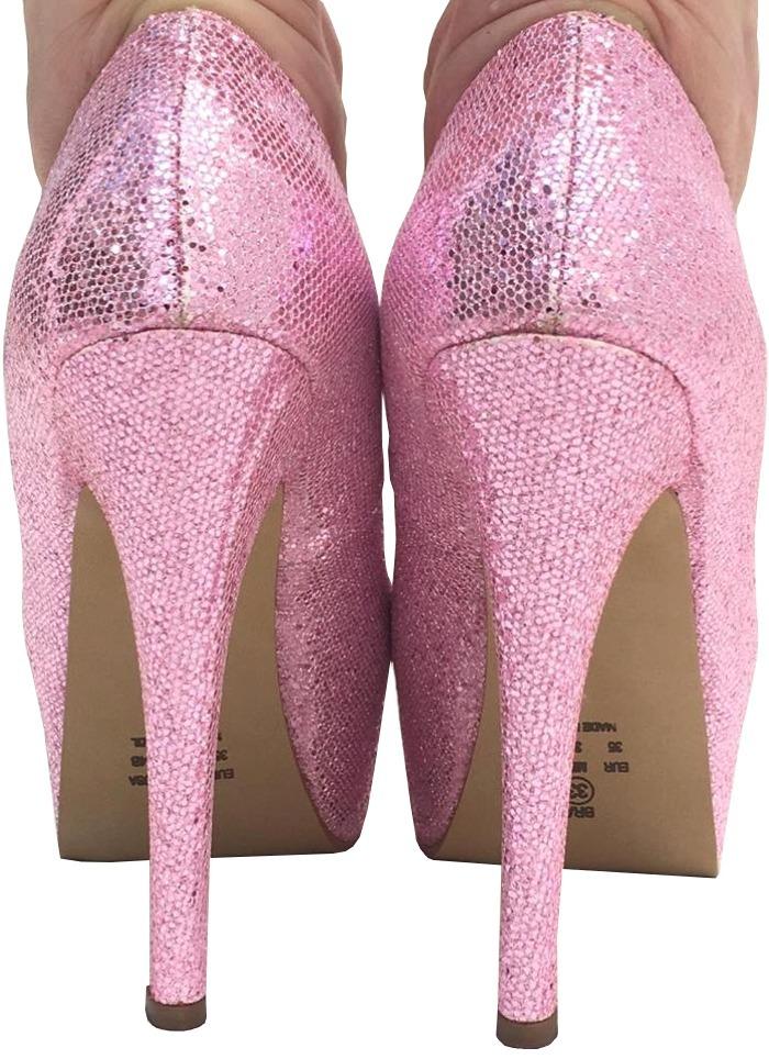 5bd1333cdb sapato rosa bebe meia pata glitter salto alto fino debutante. Carregando  zoom.