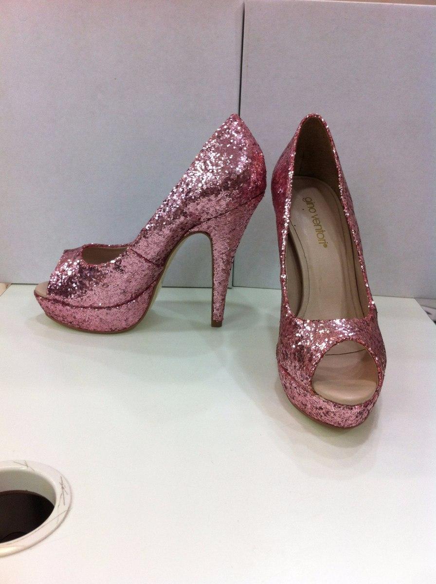 f38fe2cc4 sapato rosa em glitter peep toe em couro. Carregando zoom.