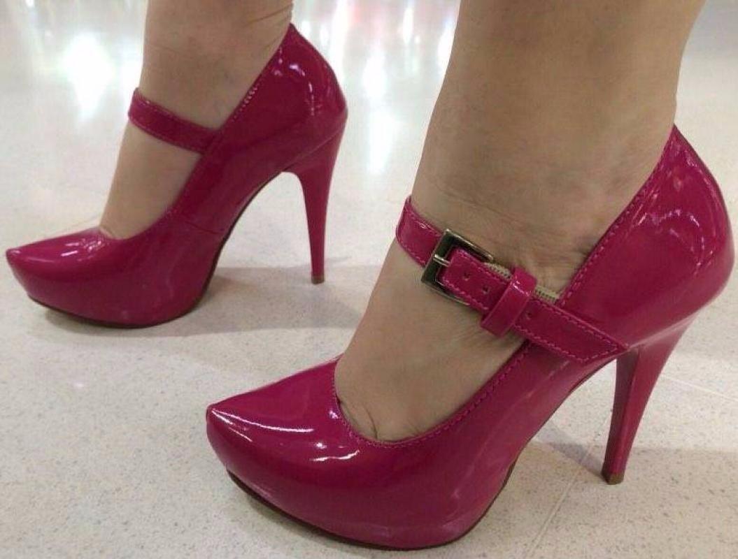 a2021903e sapato salto alto fino meia pata rosa pink verniz tiras. Carregando zoom.