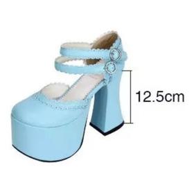 Sapato Salto Alto Lolita Cosplay 12.5cm