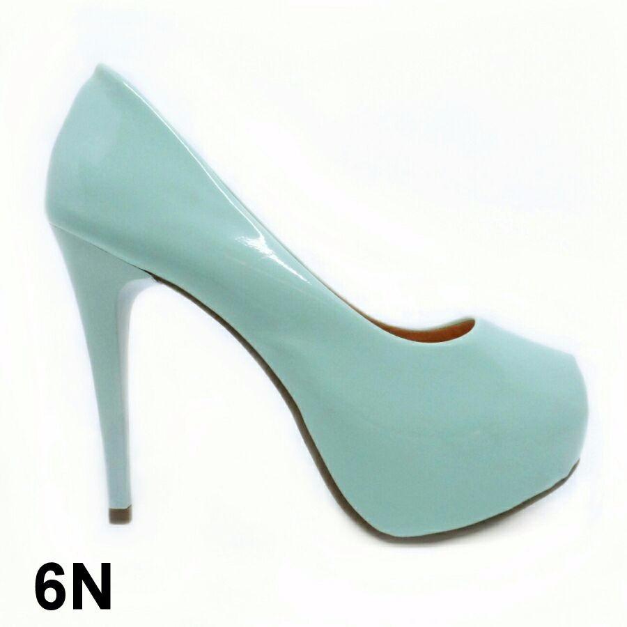 2814735f6 sapato salto alto meia pata scarpin verde claro verniz. Carregando zoom.