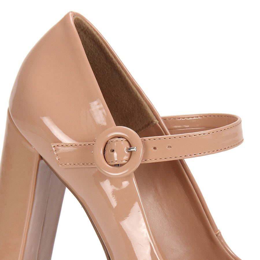 a6ce443e8 Sapato Salto Grosso Boneca Lara - Nude - R  79