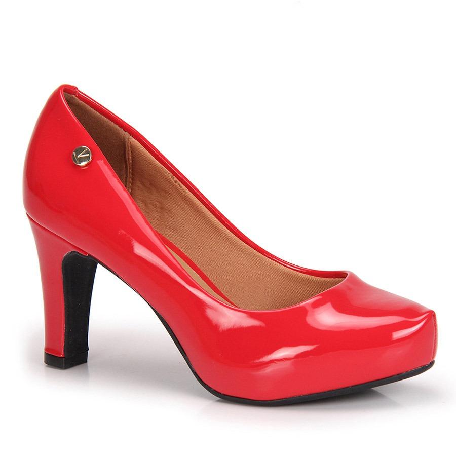 7d4af368eb sapato salto grosso vizzano verniz - vermelho. Carregando zoom.