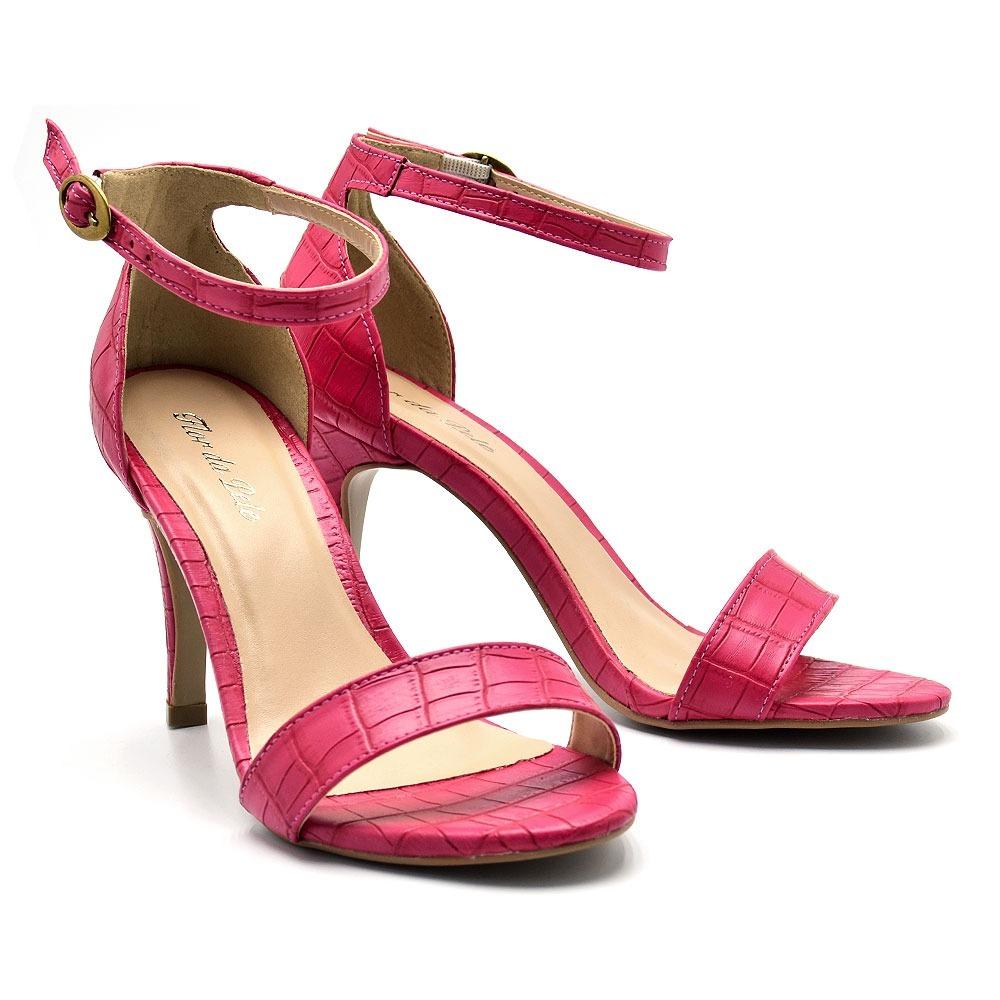f920aa7e08 sapato sandália social feminina salto alto fino croco pink. Carregando zoom.