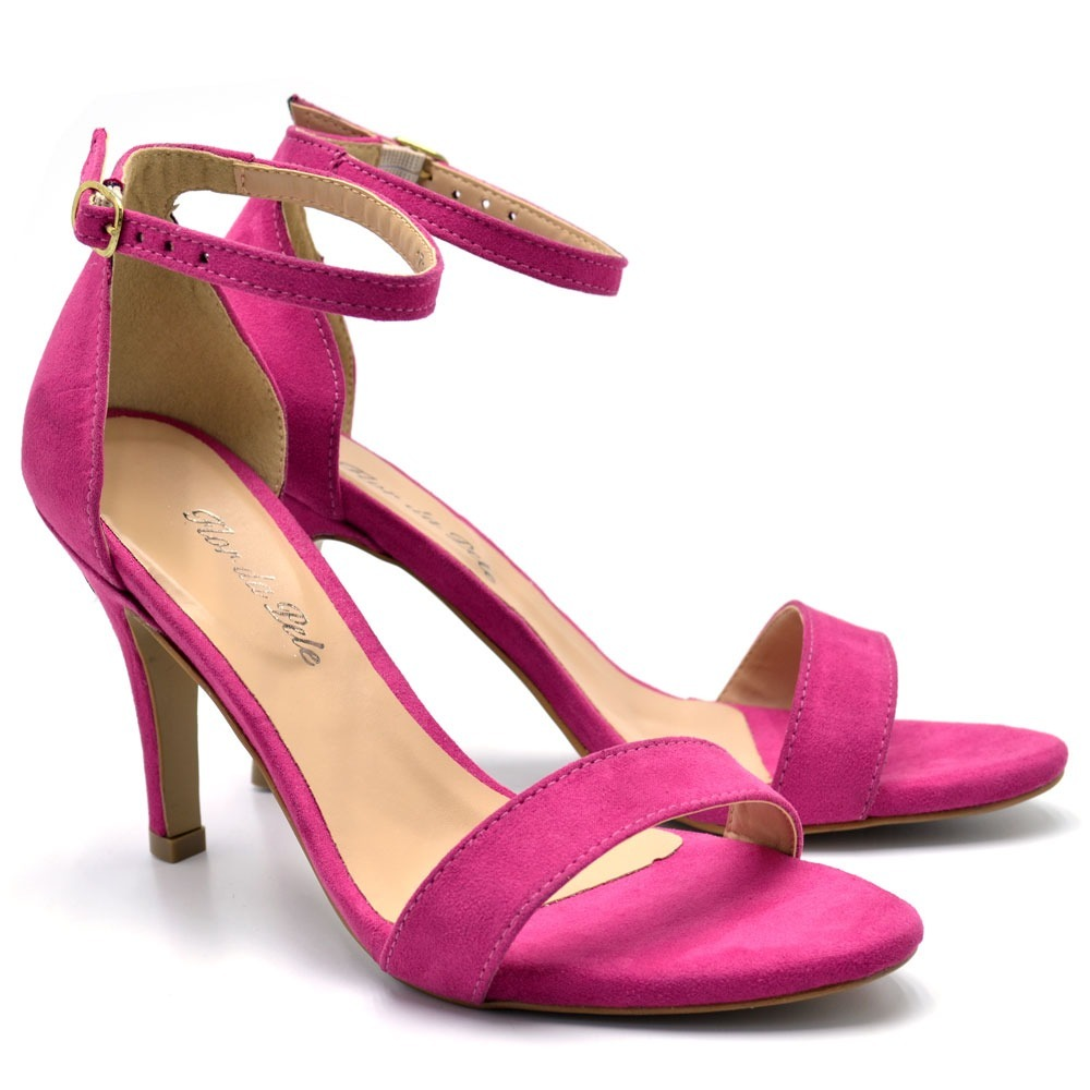 4bd599835e sapato sandália social feminina salto alto fino rosa pink. Carregando zoom.