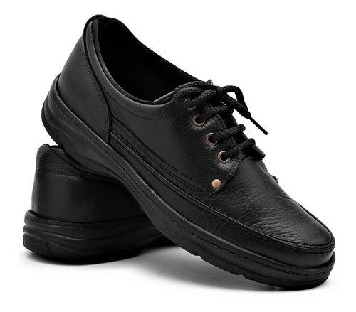 sapato sapatenis antistress macio masculino ortopédico couro
