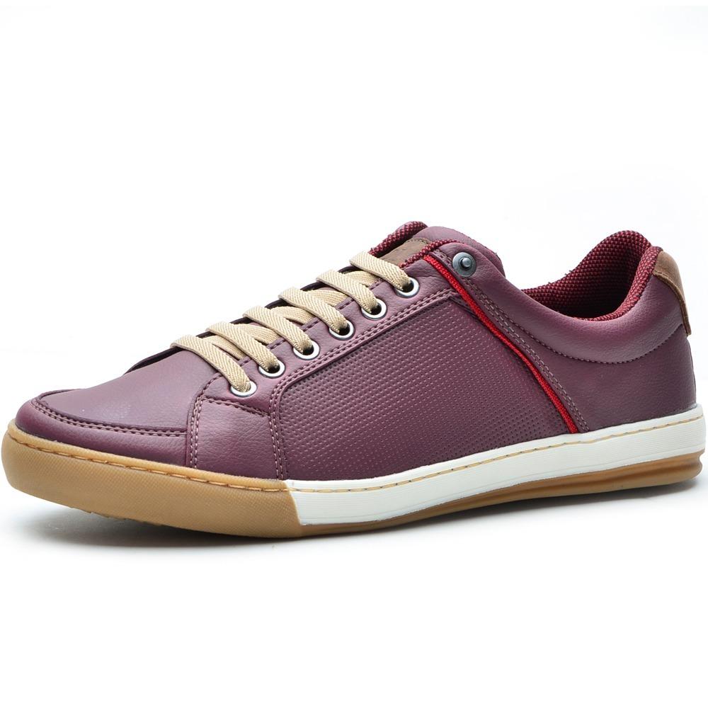 feadf0855 sapato sapatenis masculino em couro bordo listra. Carregando zoom.