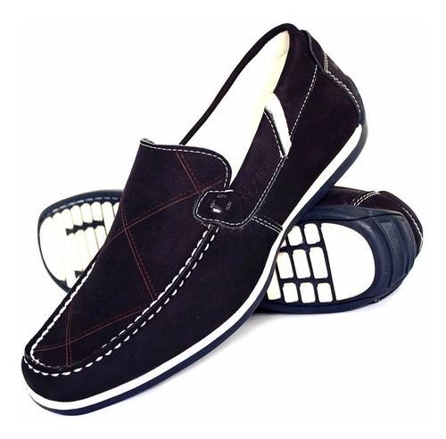 sapato sapatilha casual masculino nobuck confort em couro