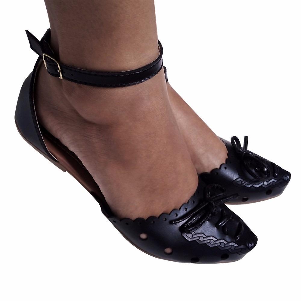 ac2586895b sapato sapatilha feminino preta boneca bico fino salomé. Carregando zoom.