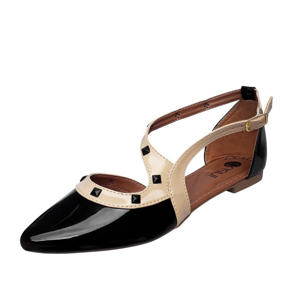 39798cdc2 sapato sapatilha preta verniz social spike salome bico fino. Carregando zoom .