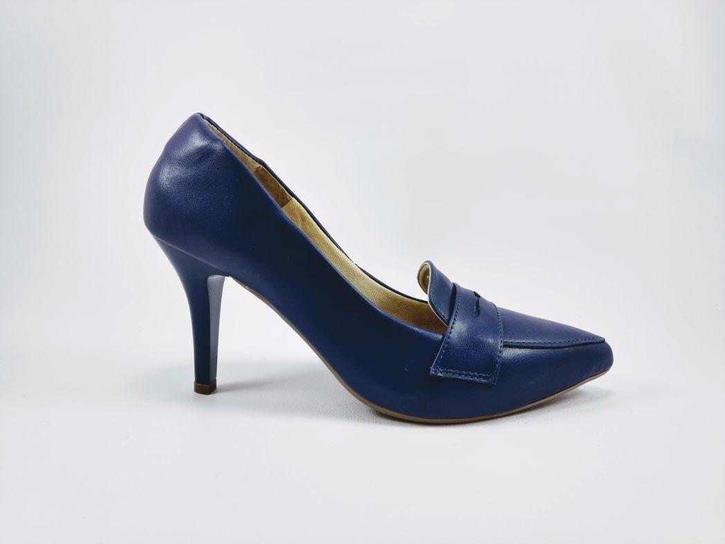 795b09a8ba sapato scarpin azul marinho salto alto fino bico fino oz. Carregando zoom.