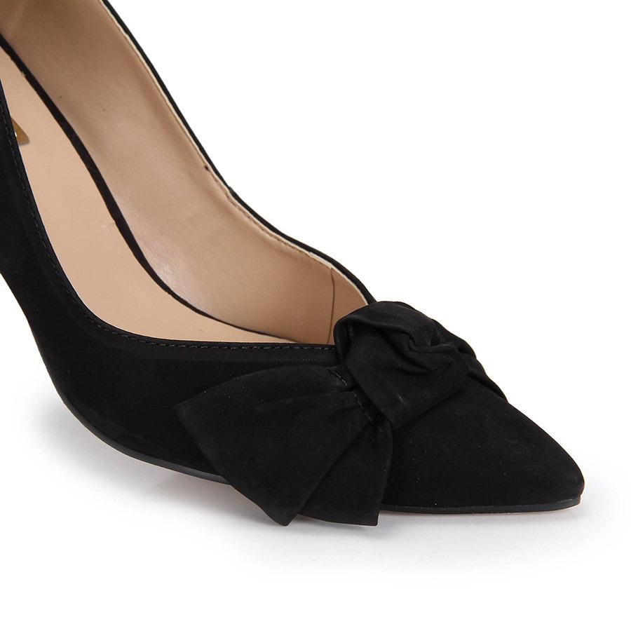 0cd5bc80e sapato scarpin bico fino brenda lee laço - preto. Carregando zoom.