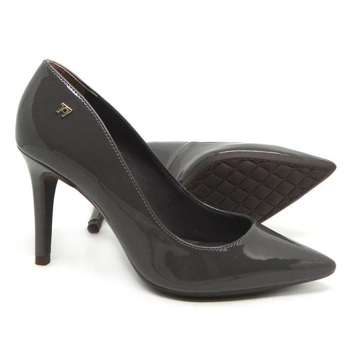 ceaf8b48d Sapato Scarpin Bico Fino Cinza Verniz Salto Alto Confortável - R ...
