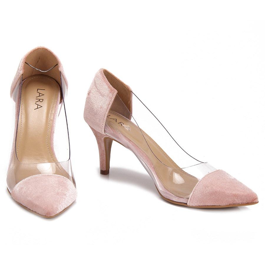 3121f03731 sapato scarpin bico fino lara veludo - rosa. Carregando zoom.
