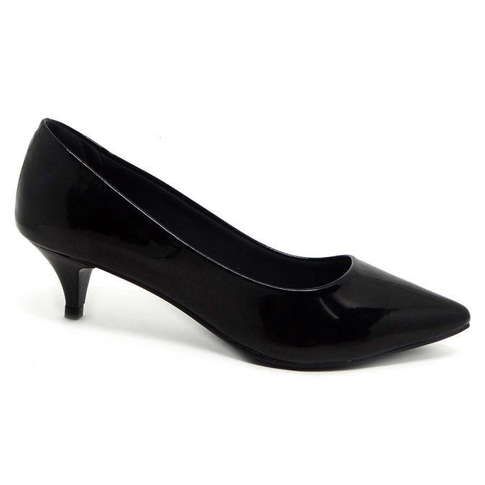 9f2dd0e5ee Sapato Scarpin Bico Fino Salto Baixo Preto Verniz 3 Cm - R  119