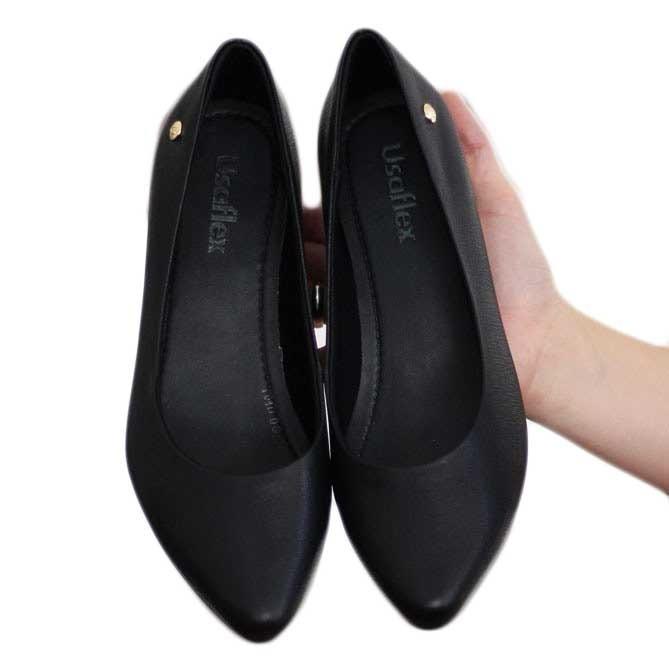 d33ca2b049 Sapato Scarpin Bico Fino Usaflex Conforto Preto 4201 - R  180