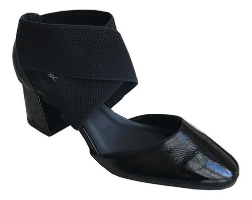 sapato scarpin bottero 315504 couro verniz detalhe elástico