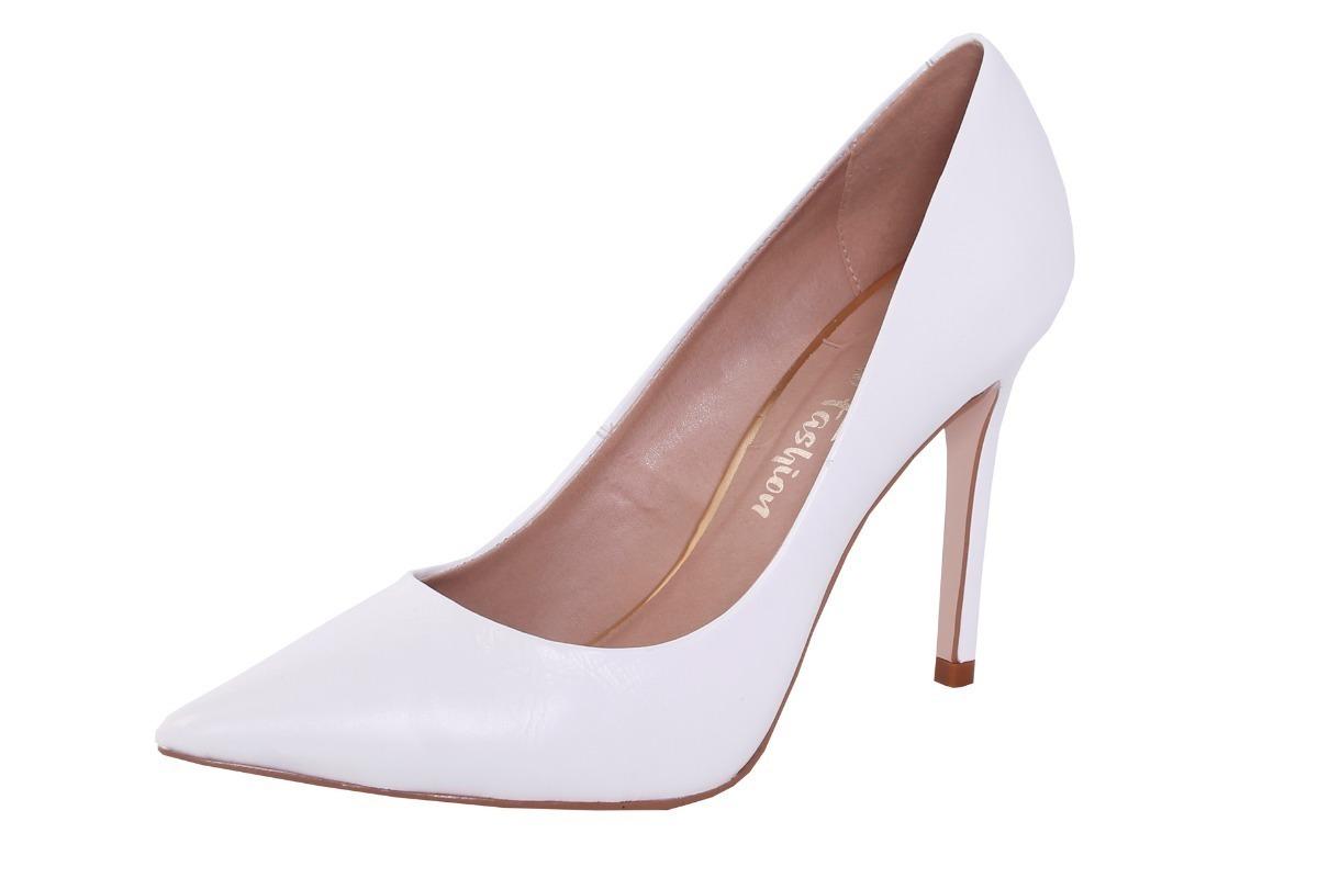 422065fc7c Sapato Scarpin Branco Couro Branco Noite Casamento Festa Beb - R ...