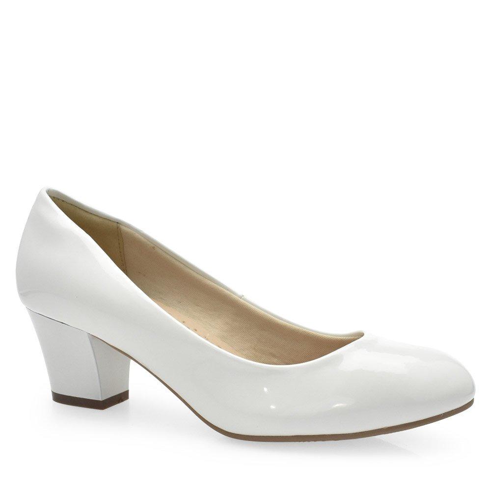 56a61891ea sapato scarpin branco salto grosso médio facinelli 62901. Carregando zoom.