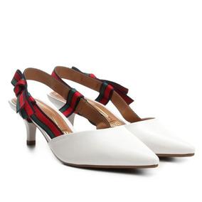 2aa6fca3a2 Sapato Scarpin Chanel Vizzano Salto Baixo Laço Gorgurão