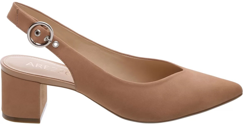 568c6f39b7 sapato scarpin couro salto baixo nude arezzo 60% off. Carregando zoom.