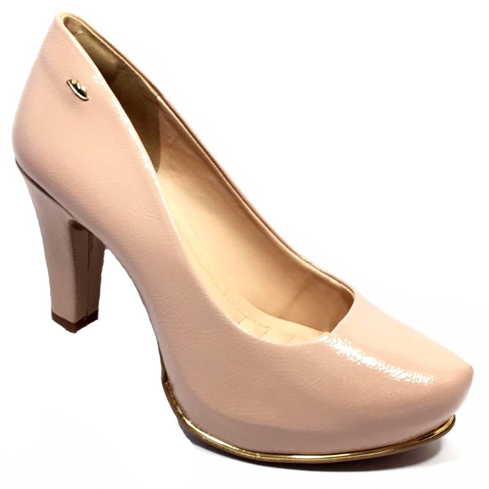 544c5208b7 sapato scarpin dakota verniz salto alto nude - b9851. Carregando zoom.