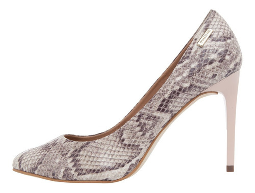 sapato scarpin dumond animal print cobra nude salto 10cm