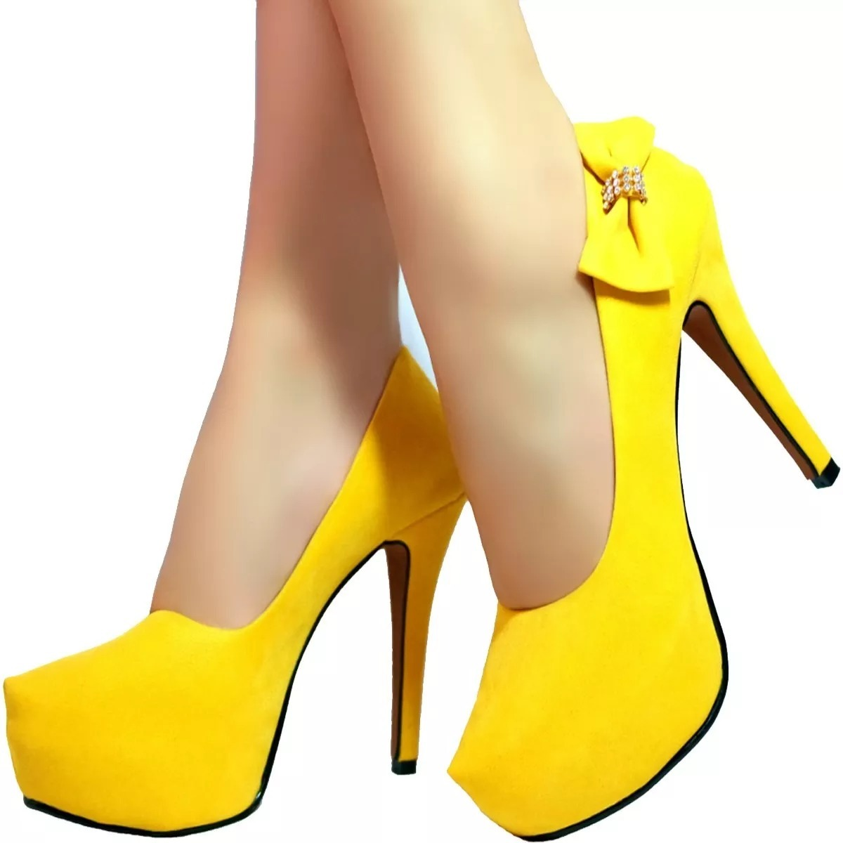 586e492962 sapato scarpin feminino 1 salto alto amarelo laço salto fino. Carregando  zoom.