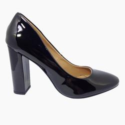 2b8fd34a24 Sapato Scarpin Feminino Salto Quadrado Verniz Preto - R  119