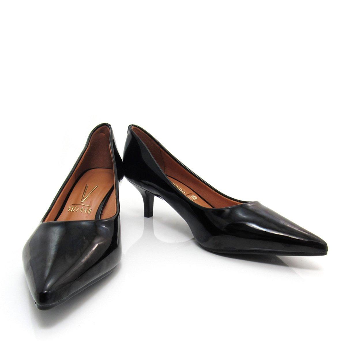 c8d8670b48 sapato scarpin feminino vizzano bico fino 1122600 nude preto. Carregando  zoom.