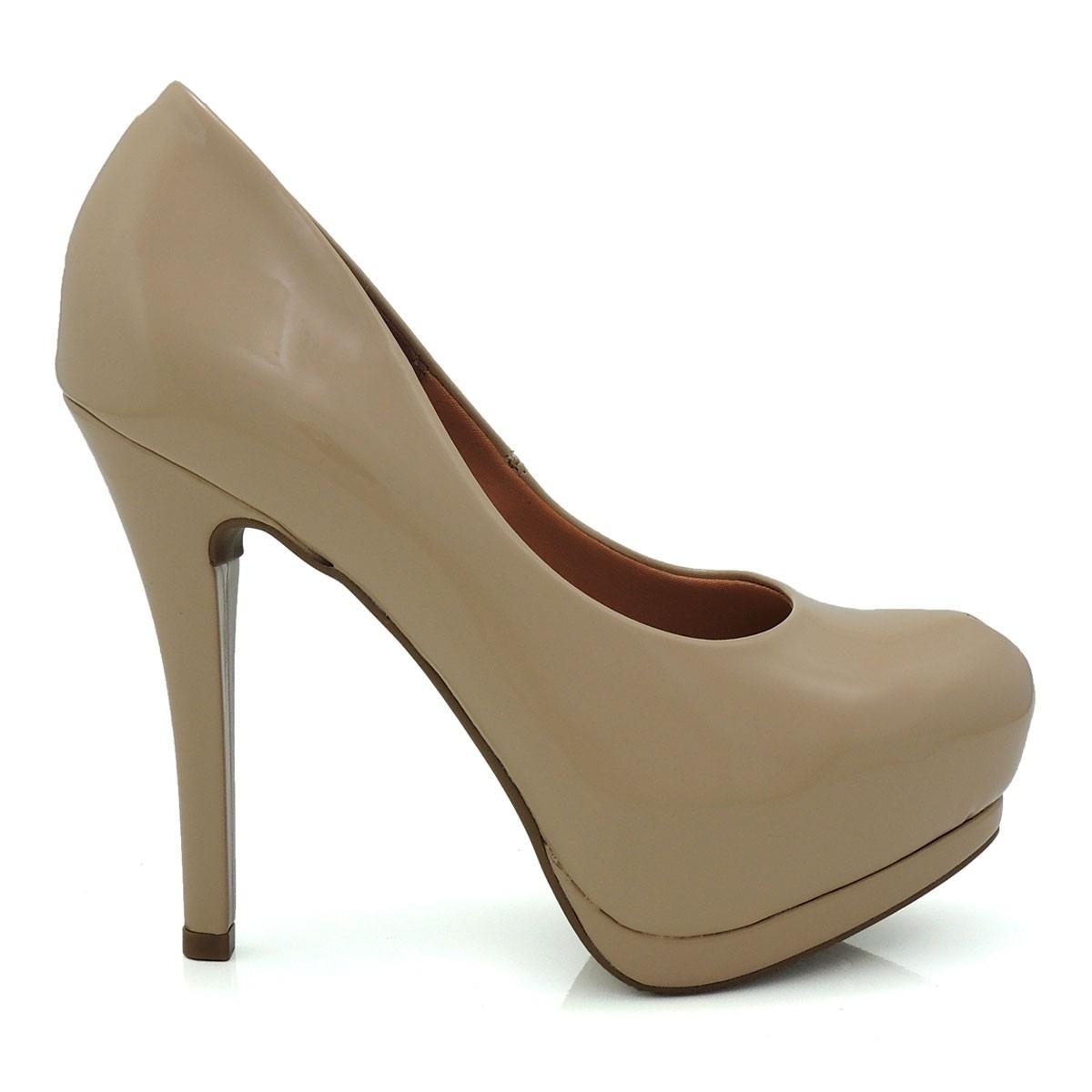 3a3a4f0ecd sapato scarpin feminino vizzano meia pata 115730 verniz bege. Carregando  zoom.