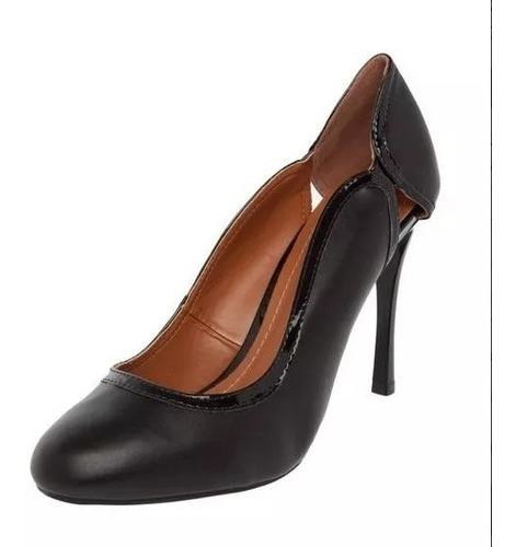 sapato scarpin fiveblu recorte preto