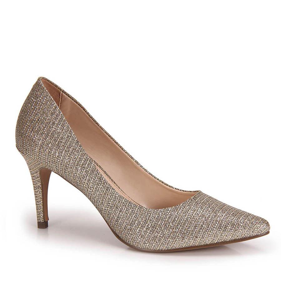f6ae4f9a56 sapato scarpin lara lurex - dourado. Carregando zoom.