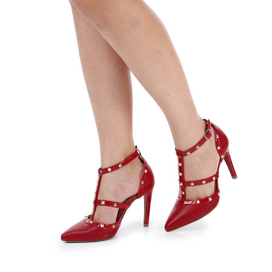 b528ede7d4 sapato scarpin lara tacha - vermelho. Carregando zoom.