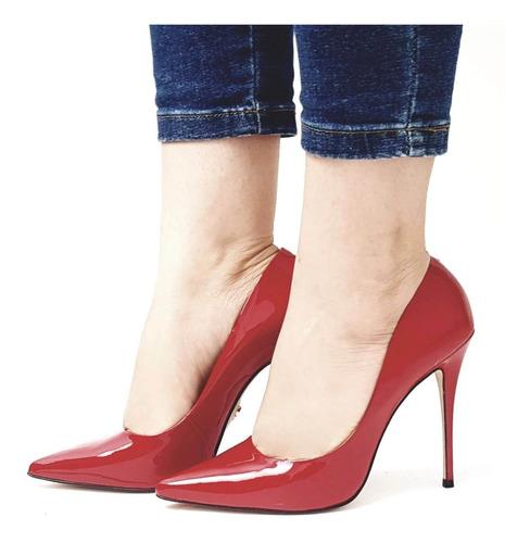 sapato scarpin liso bico fino salto alto 11cm carrano