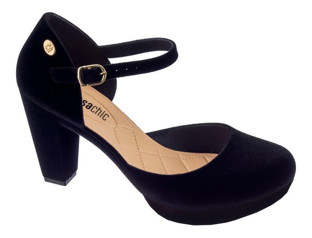 0a53ef071 sapato scarpin meia pata boneca salto médio alto grosso tira. Carregando  zoom.