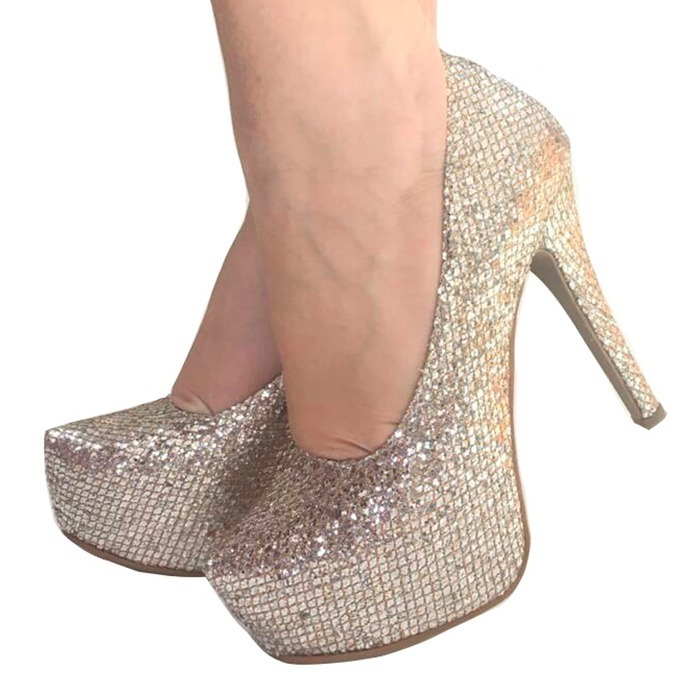 d5d0abadb6 Sapato Scarpin Meia Pata Noiva Salto Fino Prata Ouro Glitter - R ...