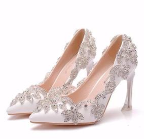 288357c82e Sapato Scarpin Noiva Branco Strass Cristais Festa Casamento